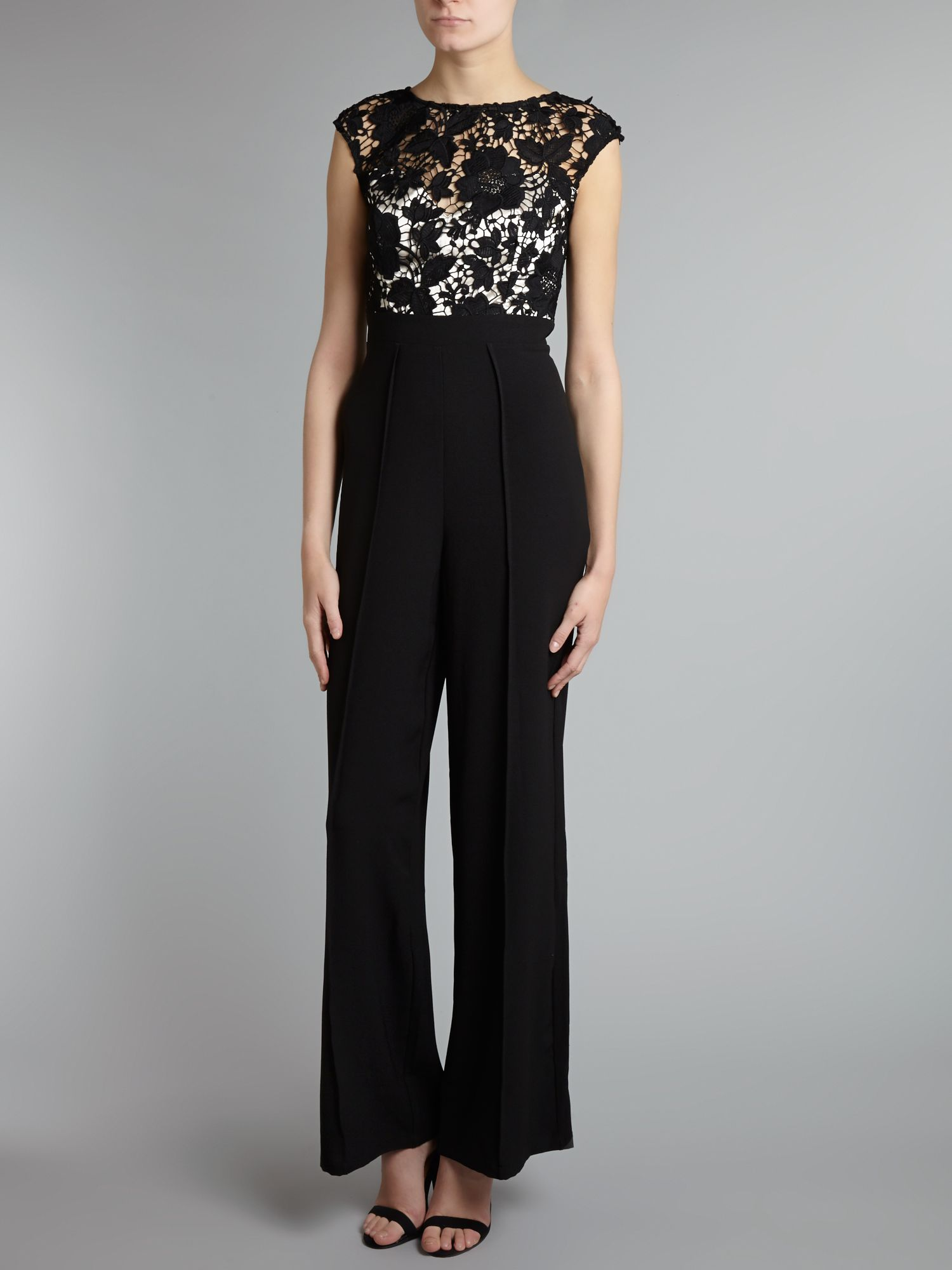Lipsy Lace Top Jumpsuit In Black | Lyst