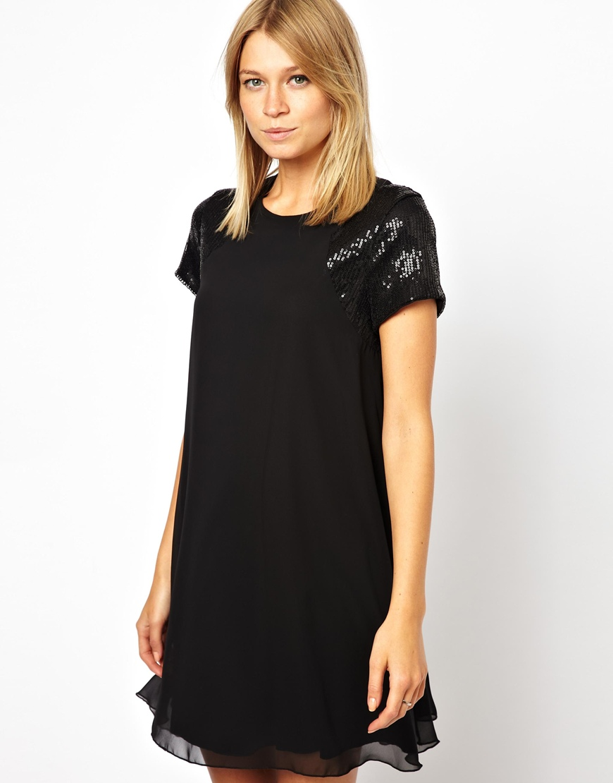 Love Swing Dress With Sequin Sleeve in Black - Lyst