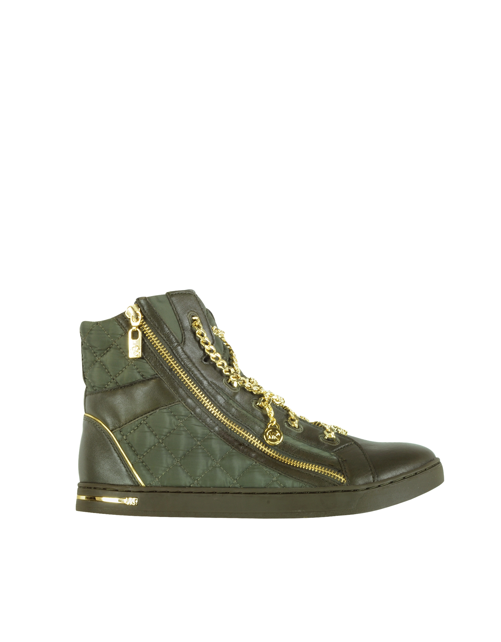 michael kors quilted nylon urban chain high top sneaker in green lyst. Black Bedroom Furniture Sets. Home Design Ideas