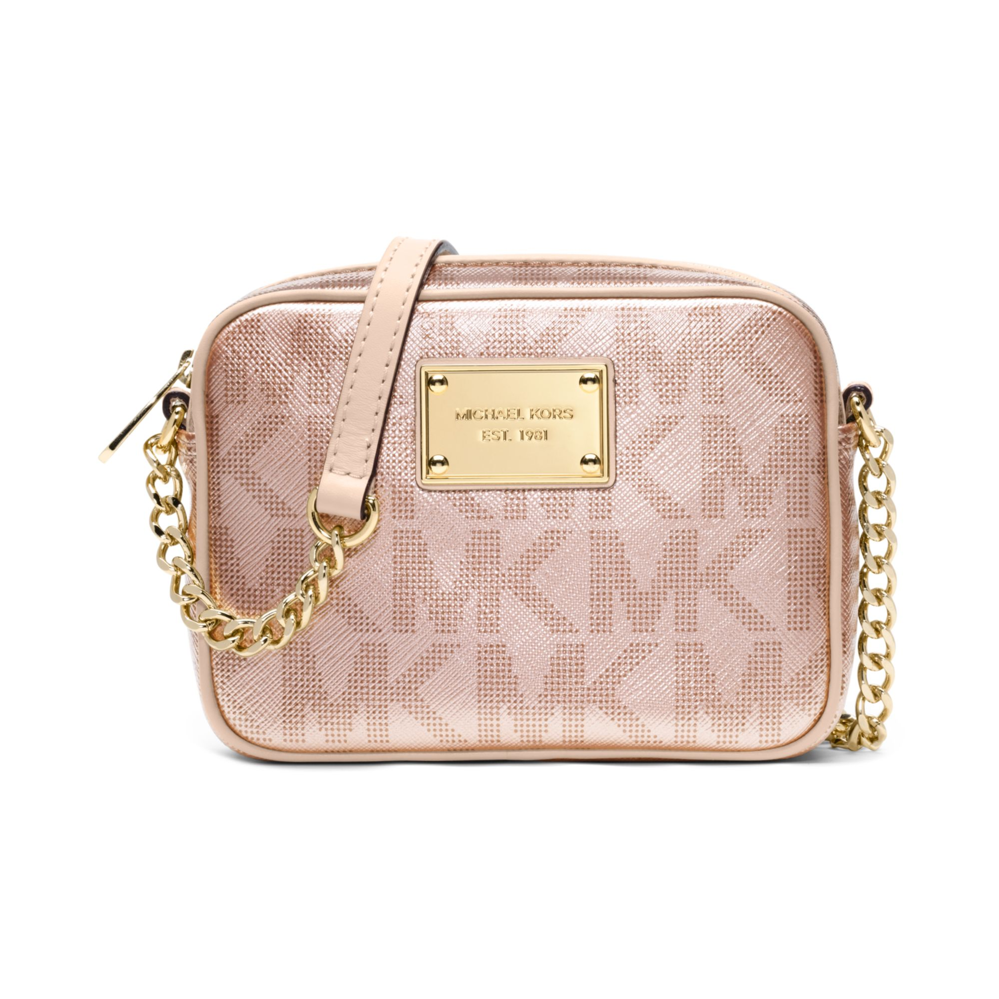 4f059c22ead5 Lyst - Michael Kors Signature Metallic Crossbody in Pink