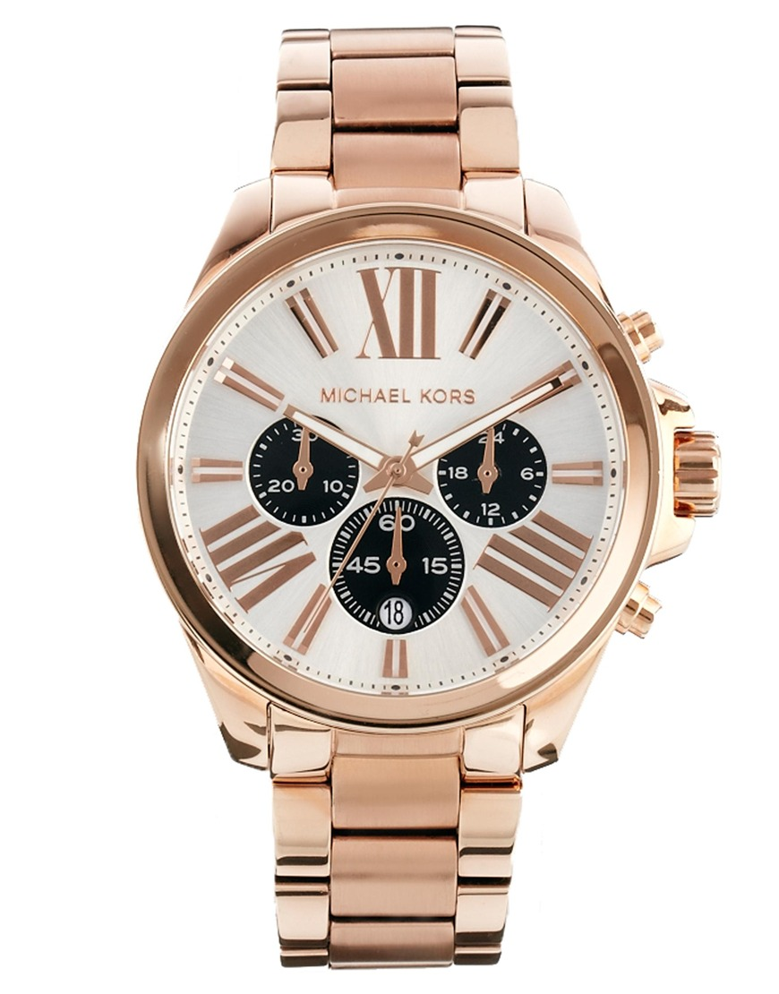 michael kors wren rose gold watch in pink lyst. Black Bedroom Furniture Sets. Home Design Ideas