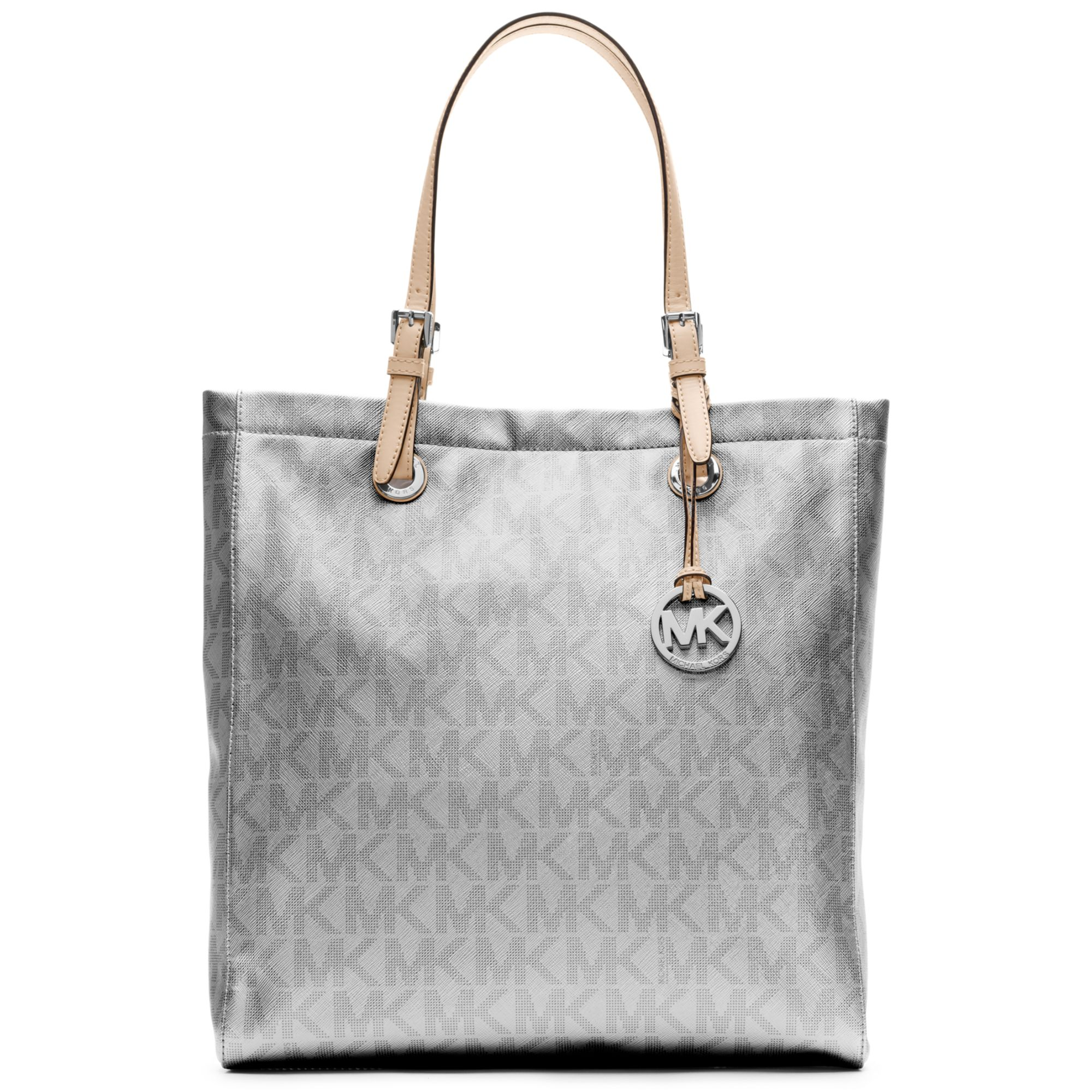 dade8145ca51 ... denmark ireland michael kors signature metallic north south tote in  silver lyst 17734 ae251 0f6f1 95b10