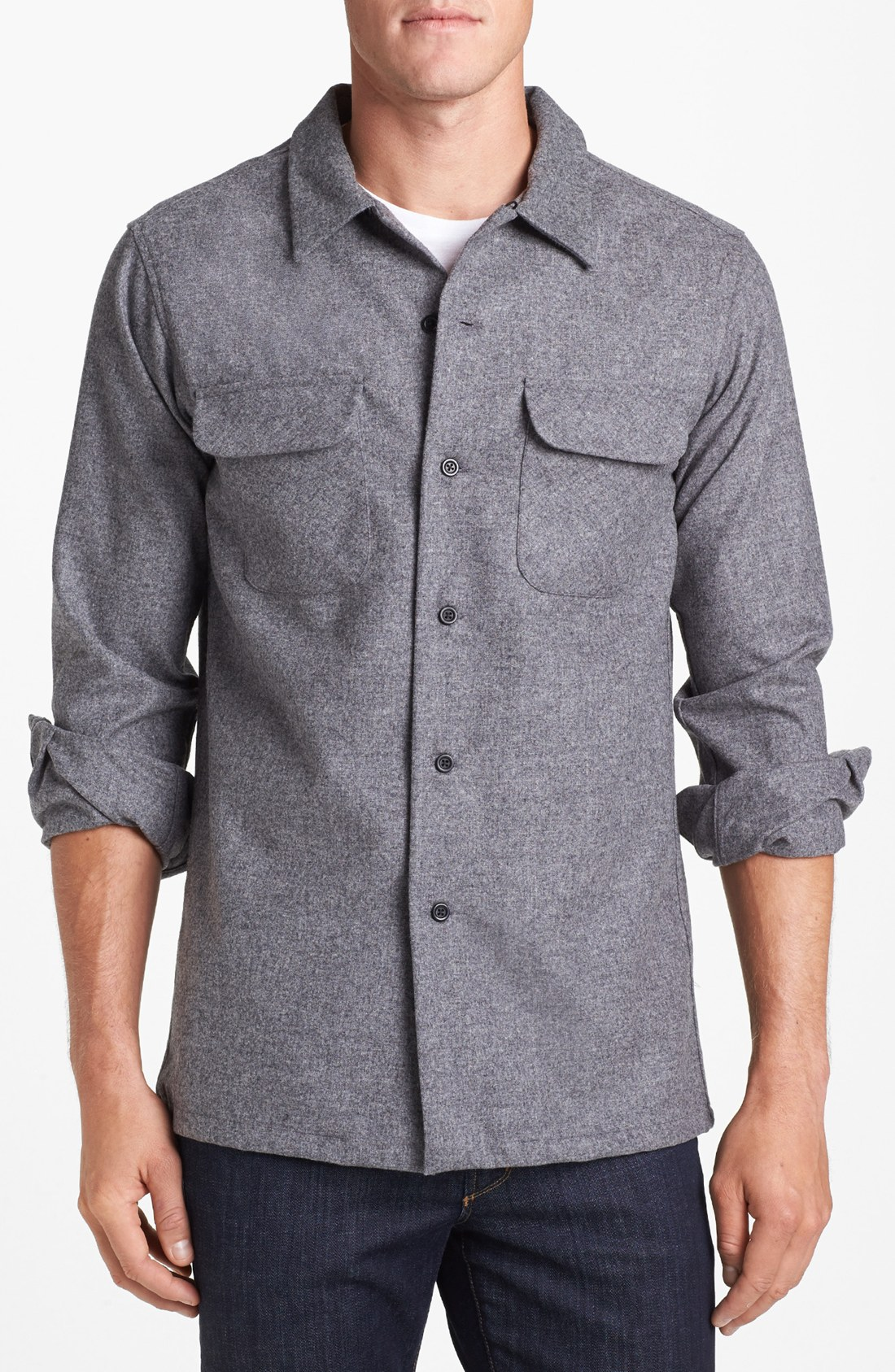 Pendleton Board Fitted Wool Flannel Shirt In Gray For Men