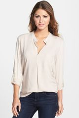 Pleione Mixed Media Roll Sleeve Top - Lyst