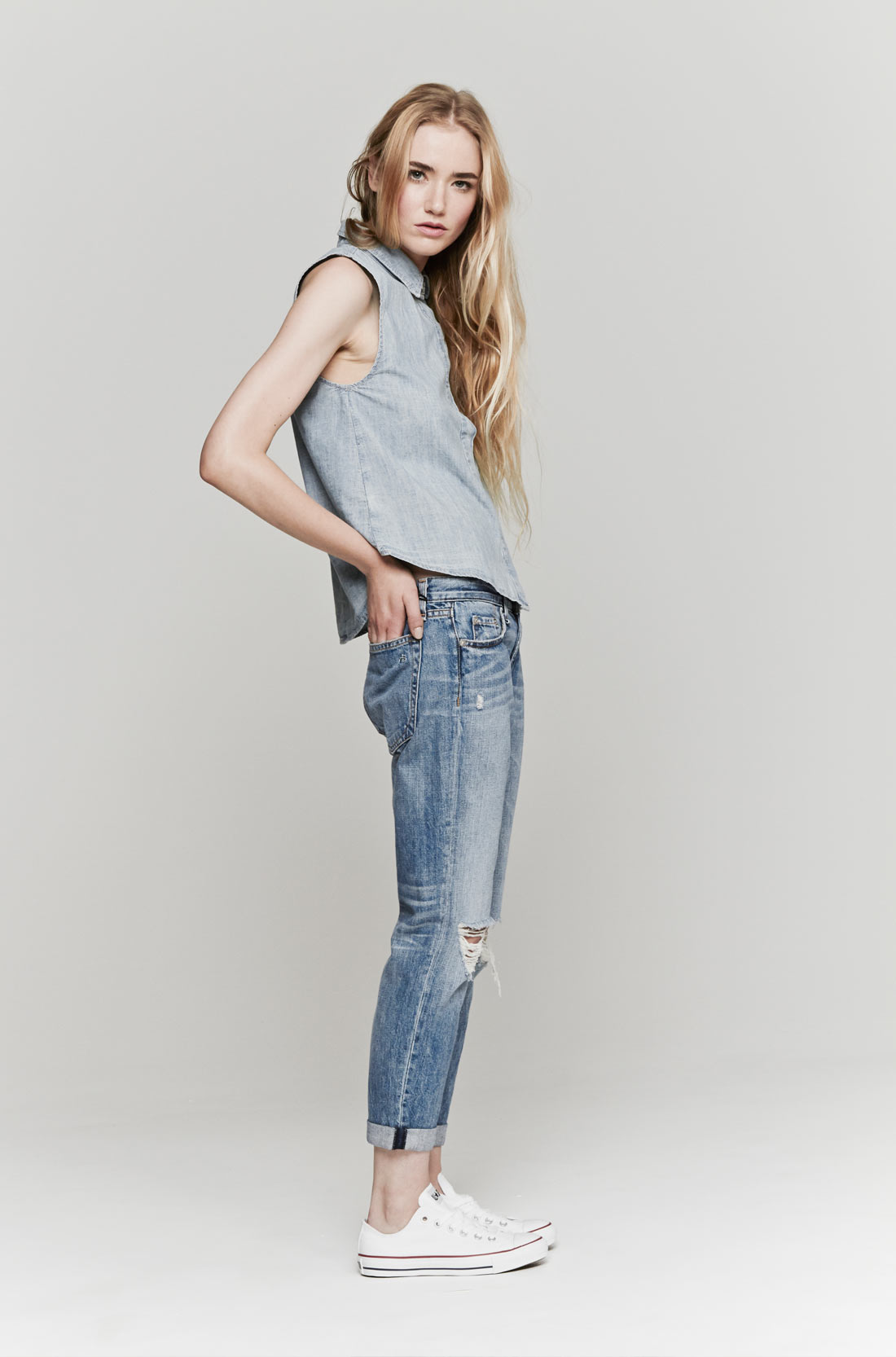 Rag & bone The Boyfriend Jeans in Blue | Lyst