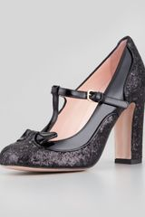 RED Valentino Mary Jane Patent Glitter Pump Black - Lyst