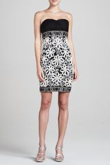 Sue Wong Strapless Dress with Allover Passementerie - Lyst