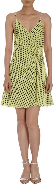 Thakoon Check Draped Front Cami Dress - Lyst