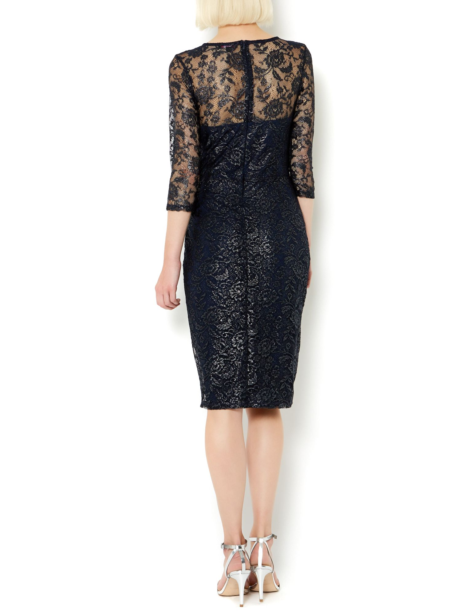 Therapy Blue Metallic Lace Shimmer Shift Dress Lyst