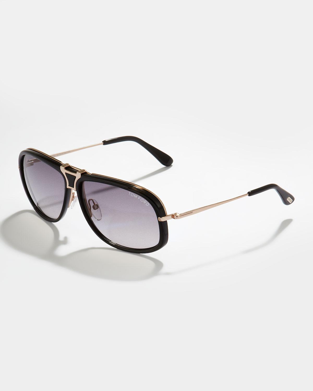 6ab90b63e253 Lyst - Tom Ford Robbie Navigator Aviator Sunglasses Tortoise Black ...