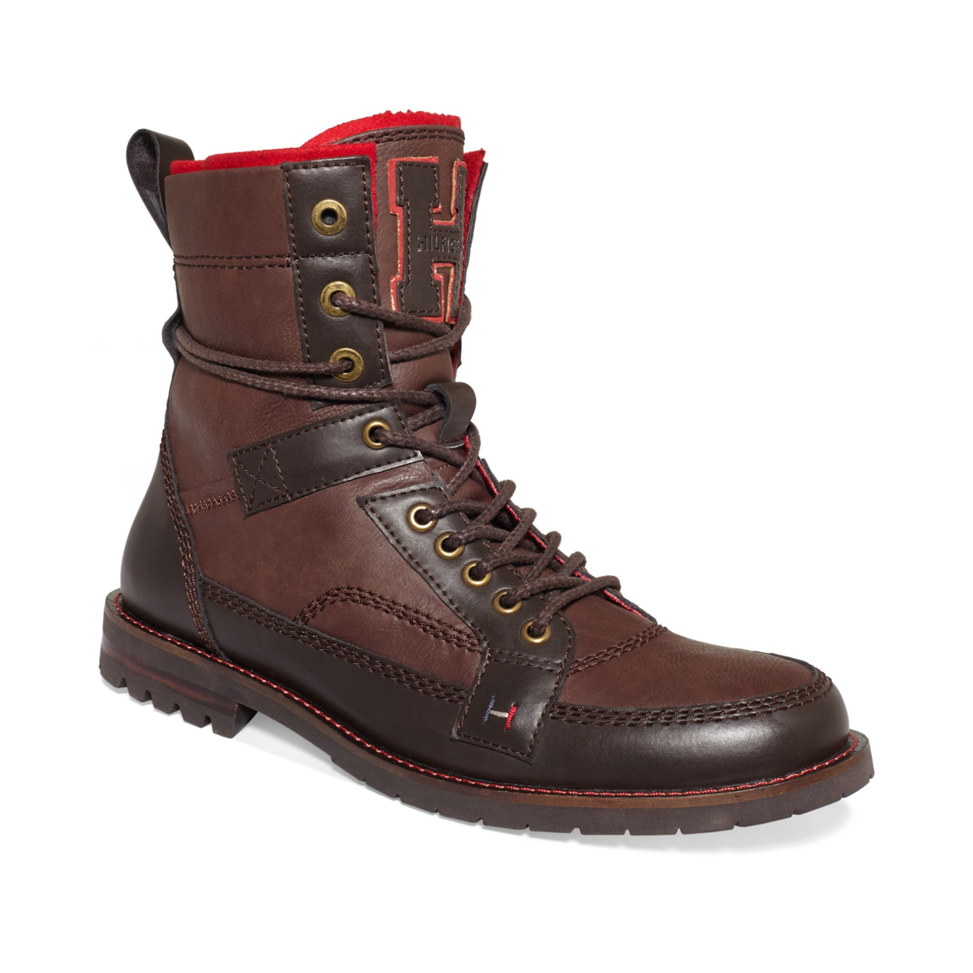 tommy hilfiger brutus boots in brown for men iroko red. Black Bedroom Furniture Sets. Home Design Ideas