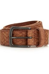 Topman Tan Embossed Leather Belt - Lyst