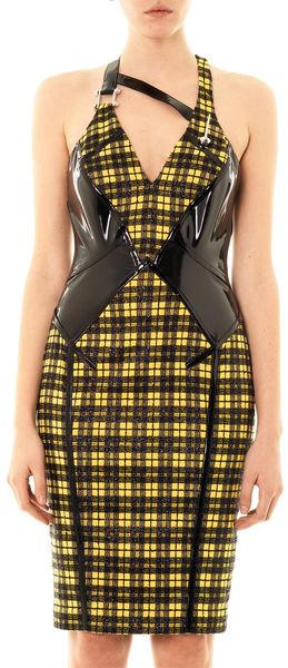 Versace Lurex Tartan And Leather Dress - Lyst