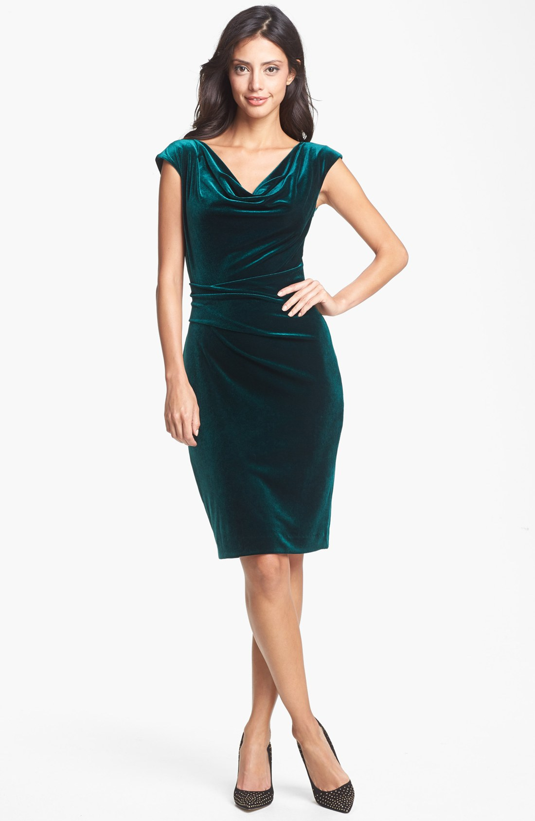 Vince Camuto Cowl Neck Velvet Dress In Green Pine Needle