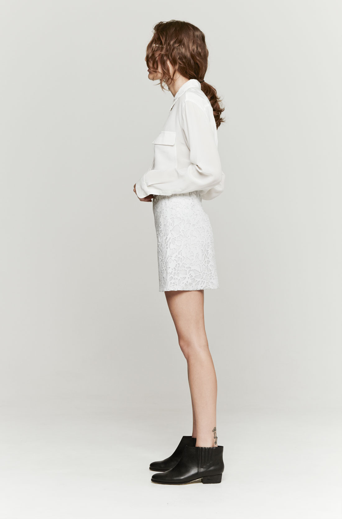Wayne Leather Lace Skirt in White | Lyst