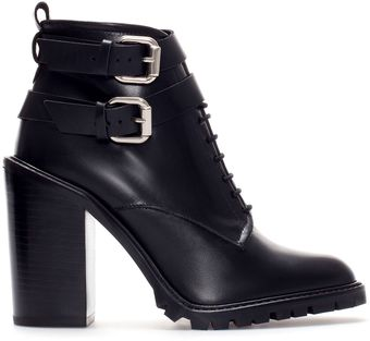 Zara Leather Ankle Boot with Straps - Lyst