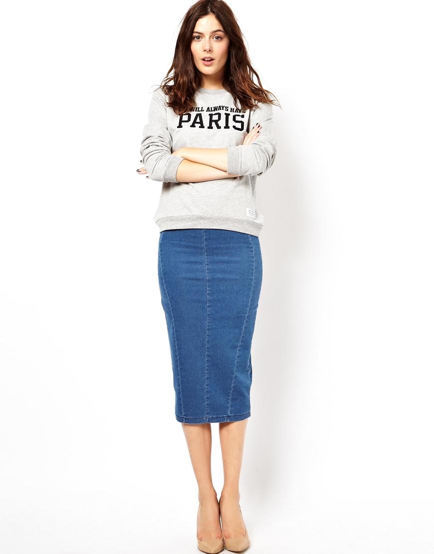 asos denim seamed midi pencil skirt in blue lyst