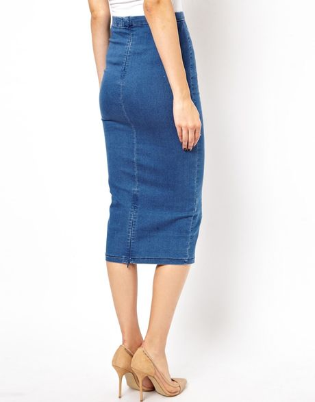 asos denim seamed midi pencil skirt in blue lyst