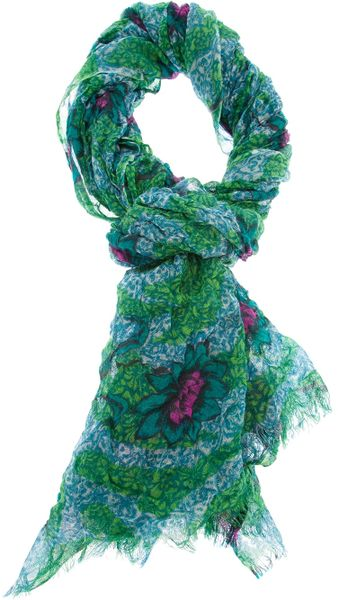 erfurt floral rectangle scarf in multicolor green lyst