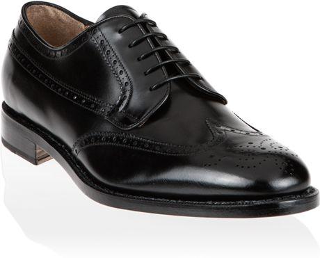 ferragamo wingtip shoe in black for lyst