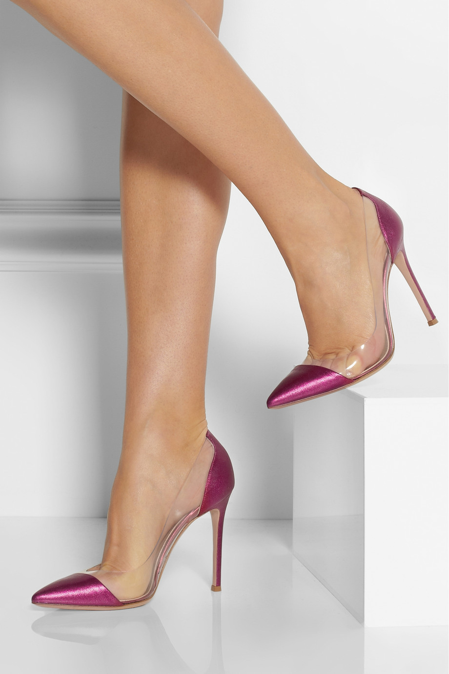 Gianvito Rossi Metallic Leather And Pvc Pumps In Pink Lyst