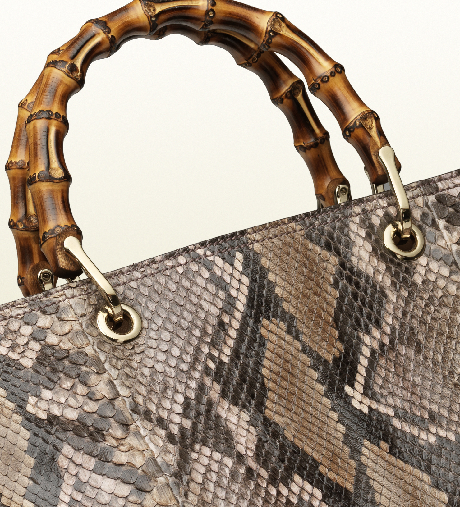 2f0f005eafe4 Gucci Bamboo Shopper Python Tote in Brown - Lyst