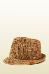 Gucci Beige Straw Effect Hat - Lyst