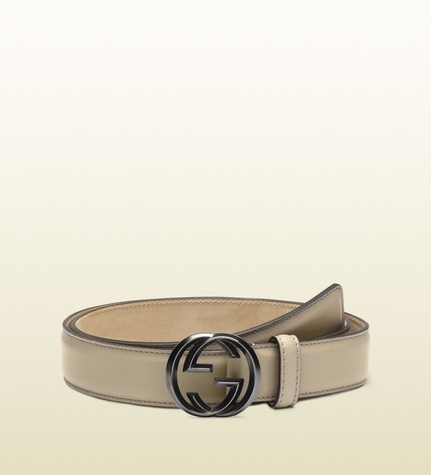 44d406058c0 Lyst Gucci Leather Belt With Interlocking G Buckle In Natural For Men