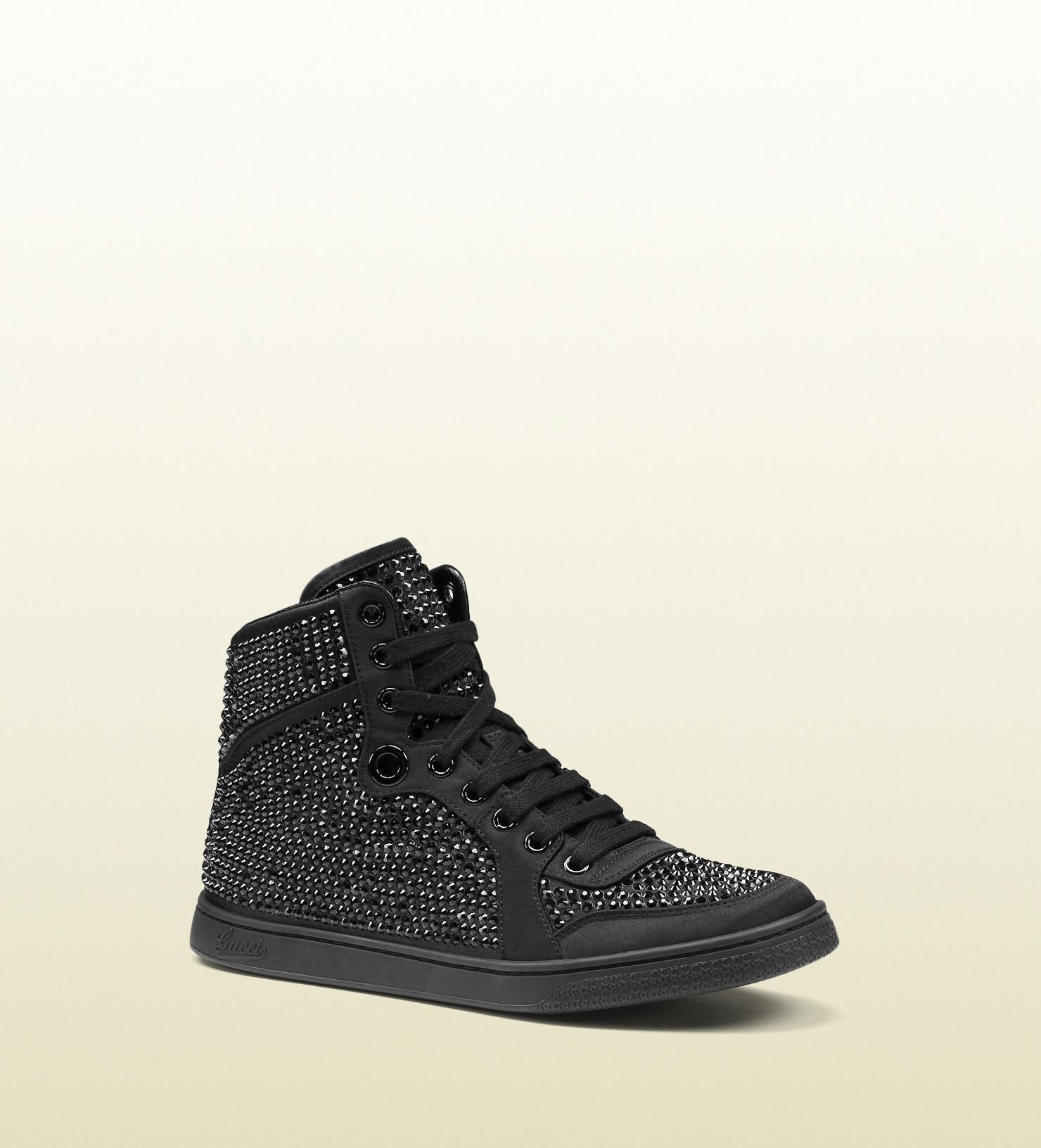 Lyst - Gucci Coda Satin Effect Fabric High-top Sneaker in Black for Men a4a4b73decf