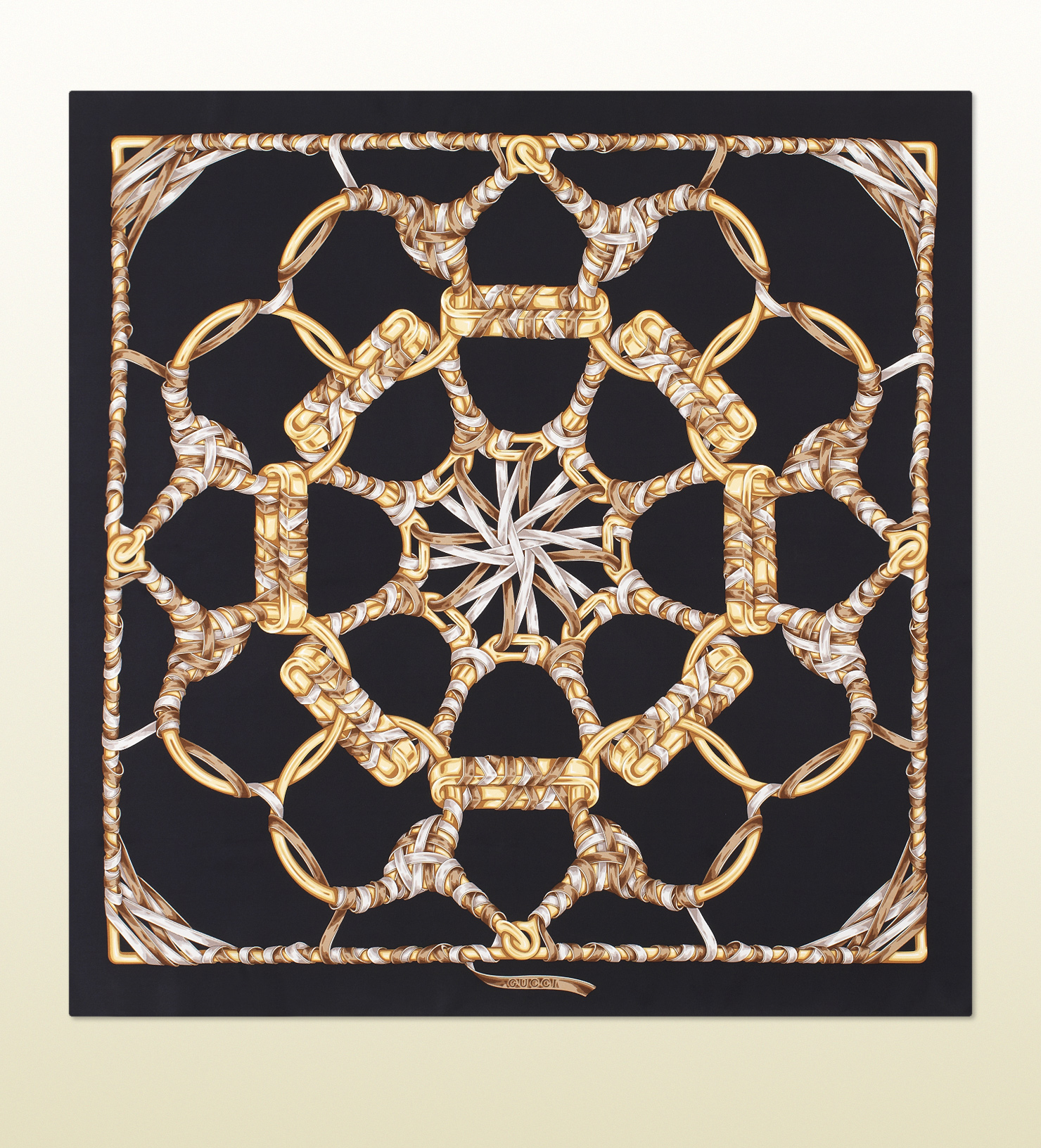 Gucci Iconic Print Silk Scarf in Metallic | Lyst
