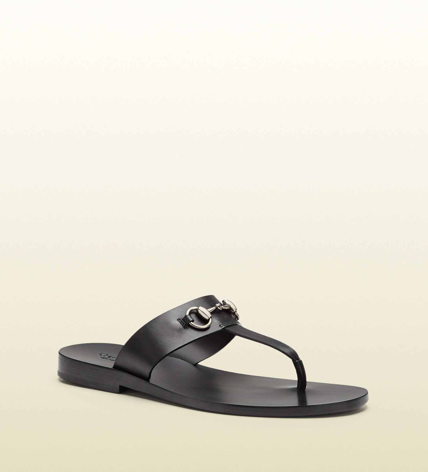 bf658328935 Lyst - Gucci Leather Horsebit Thong Sandal in Black