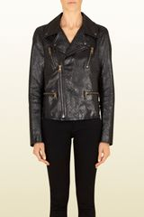 Gucci Studded Leather Biker Jacket - Lyst