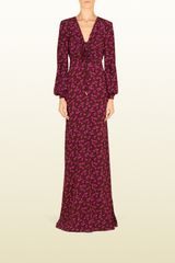 Gucci Heartbeat Print Silk Cross Front Gown - Lyst