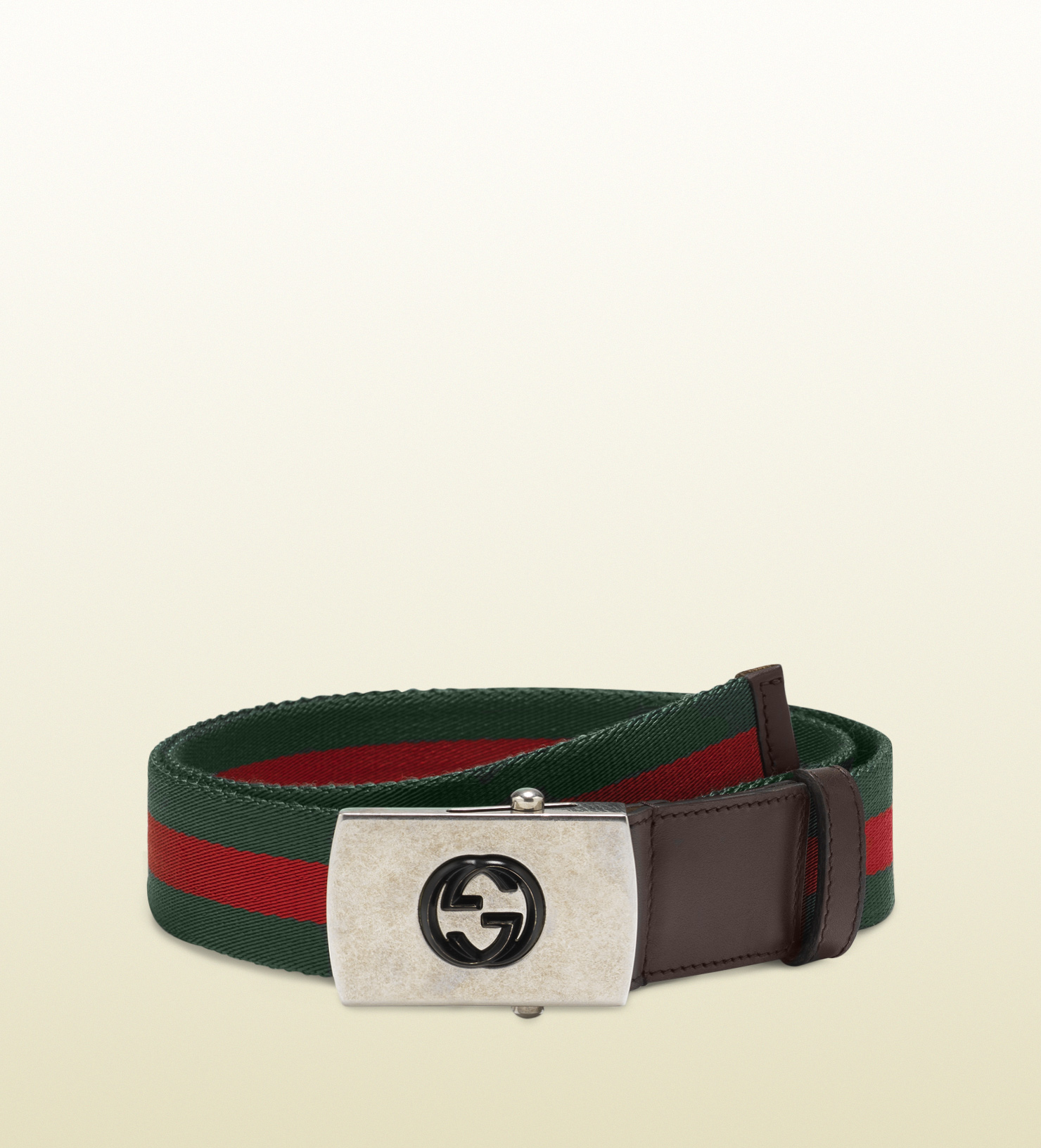 5b09578b7 Gucci Nylon Web Belt with Plaque Buckle in Green for Men - Lyst