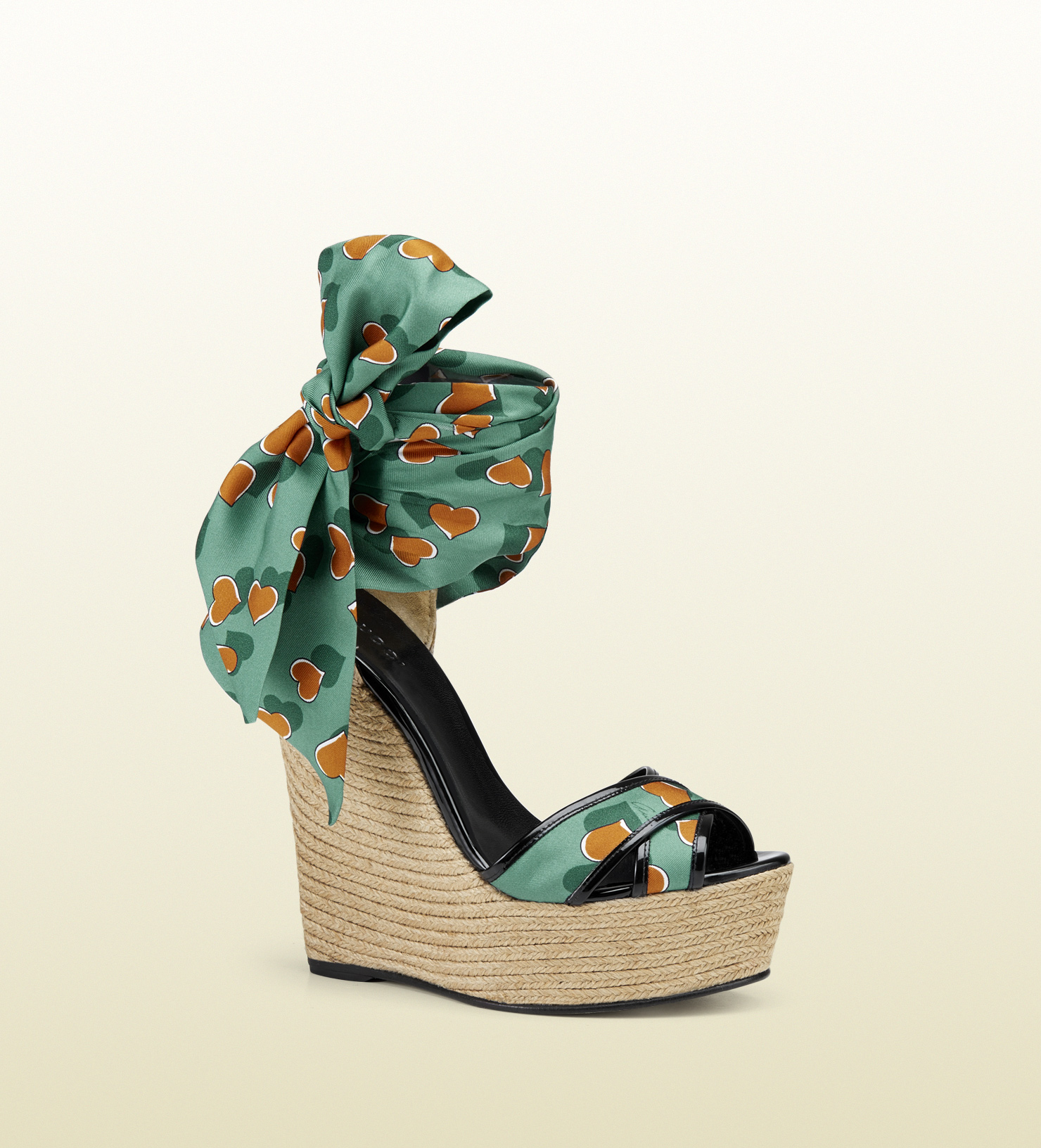 bed3c1ba8744 Lyst - Gucci Carolina Heartbeat Satin Tie Wedge Sandal in Green