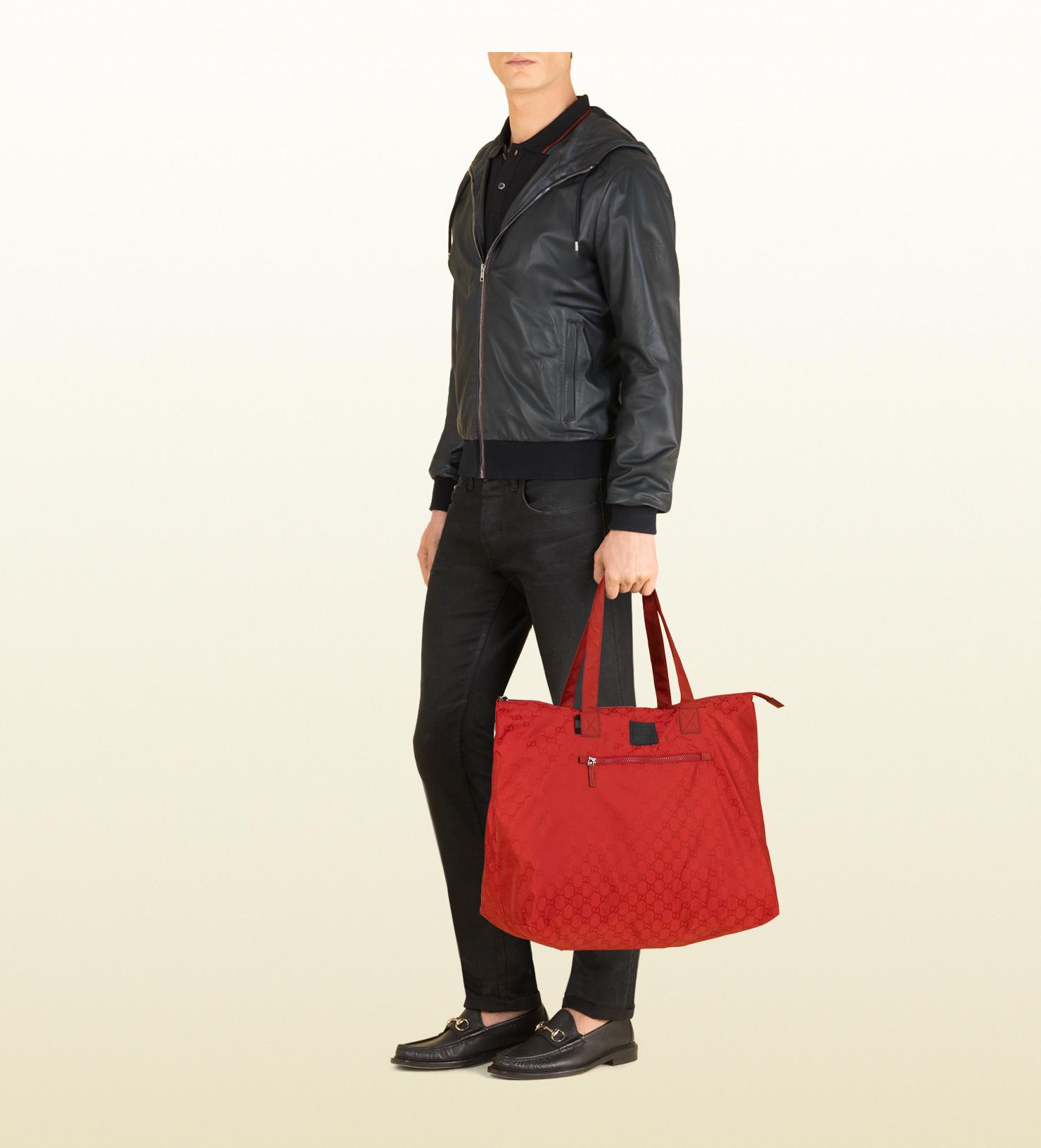 8e85e31e16a1 Lyst - Gucci Gg Nylon Duffel Bag From Viaggio Collection in Red for Men