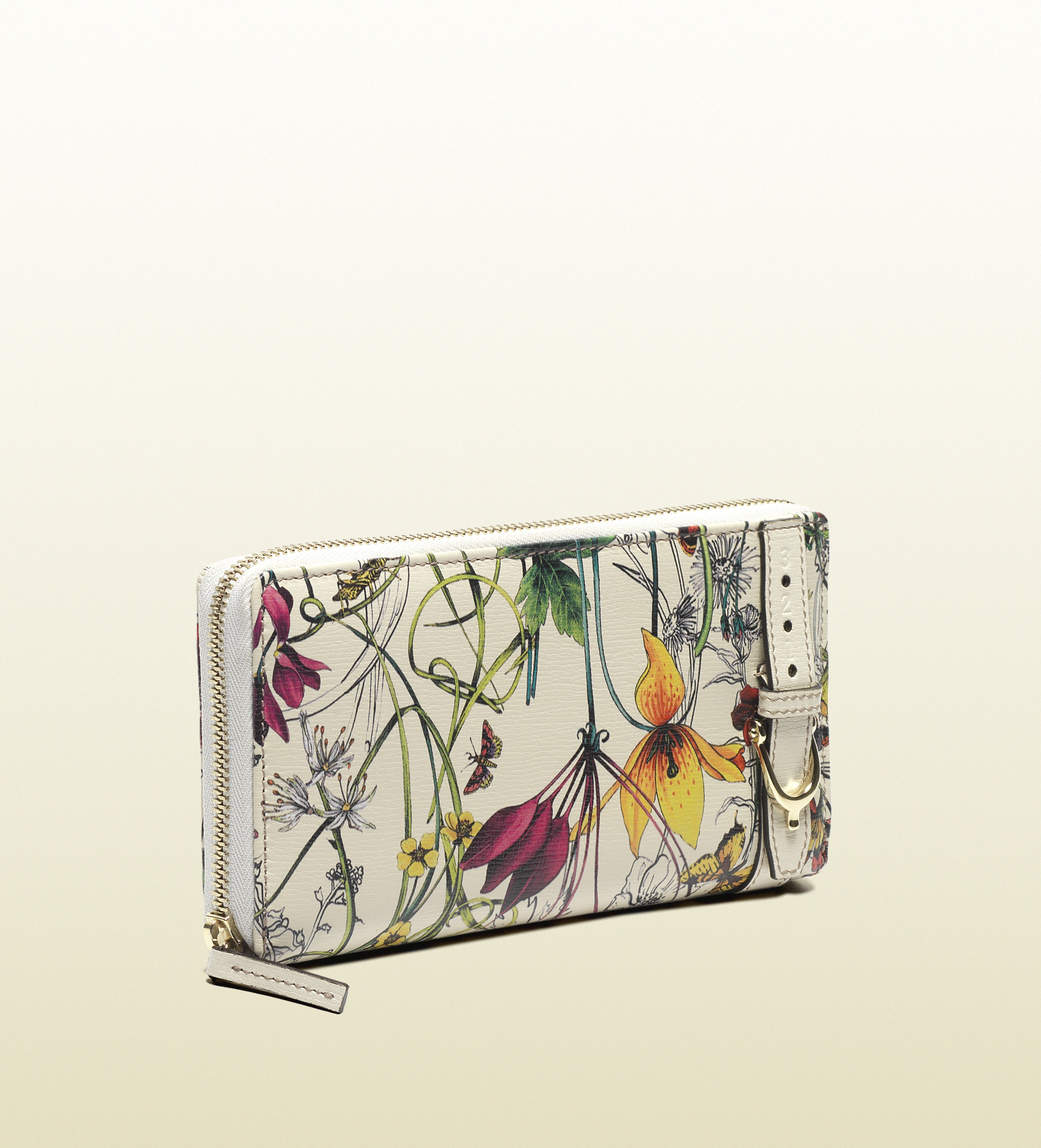 1c2179532ad Lyst Gucci Nice Flora Leather Zip Around Wallet In White