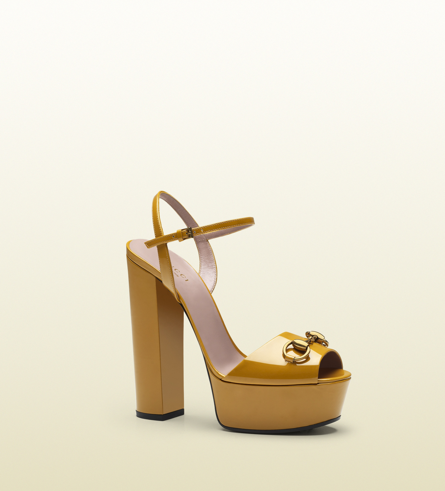 759662537ff Gucci Patent Leather Platform Sandal in Yellow - Lyst