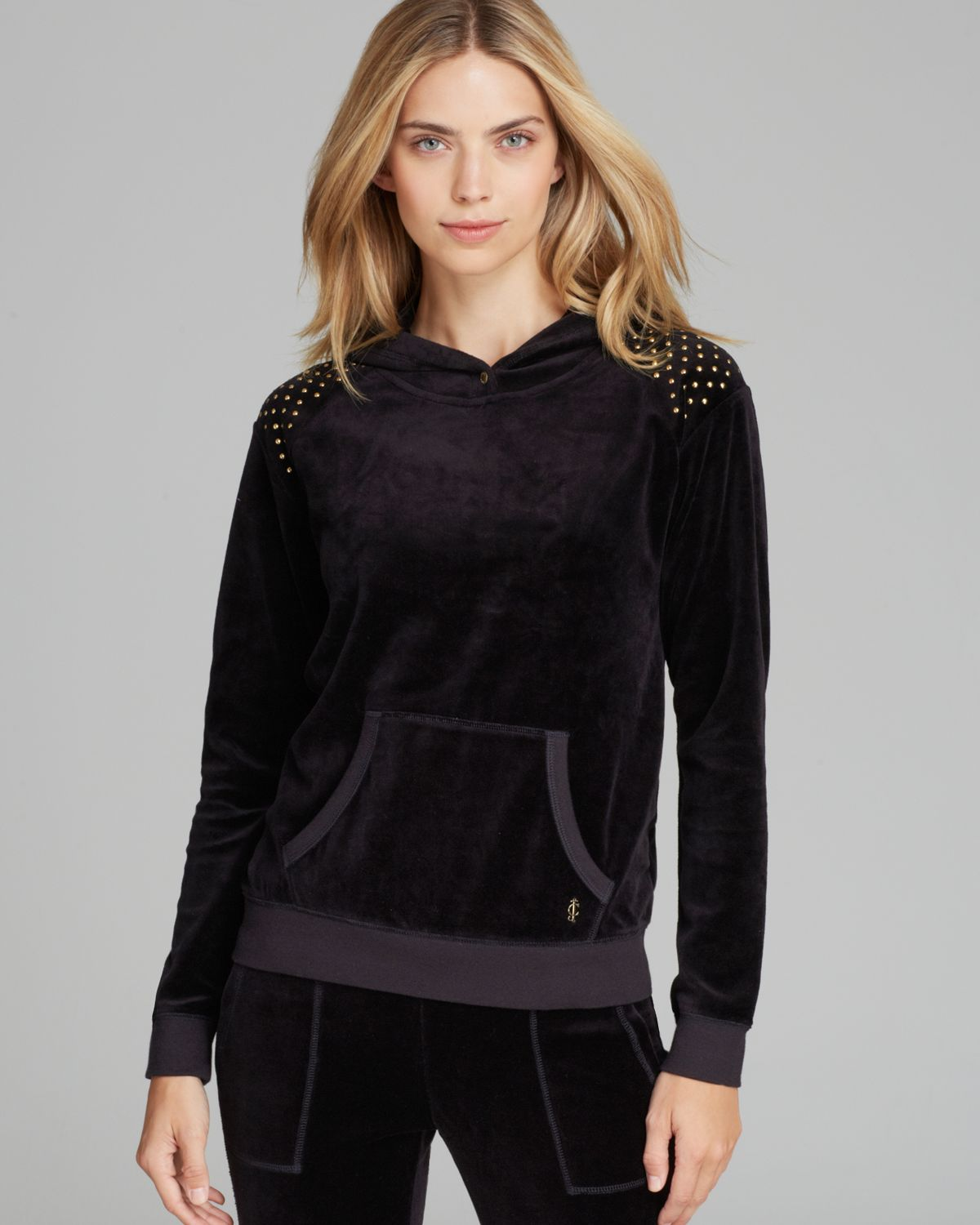 Juicy couture pullover nailhead hooded velour in black lyst for Couture garments