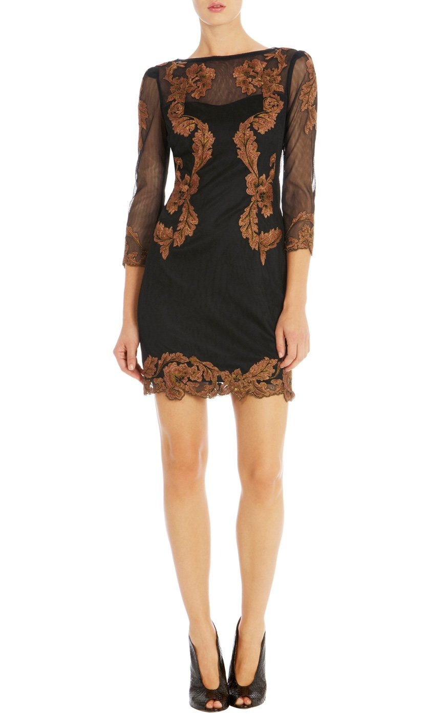 Lyst Karen Millen Floral Embroidery Dress In Metallic