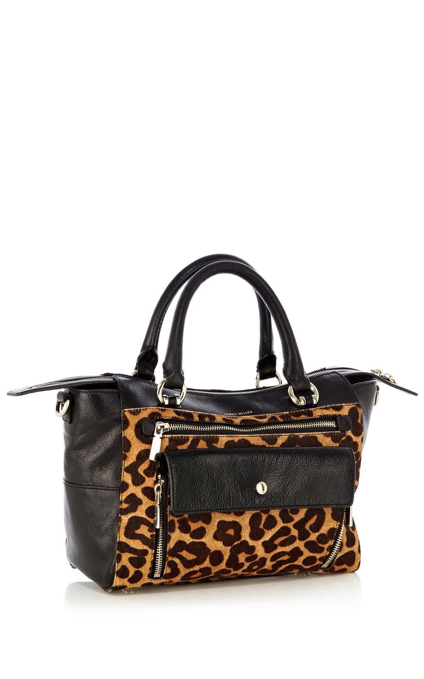 Lyst Karen Millen Pocket Front Leopard Box Bag In Brown