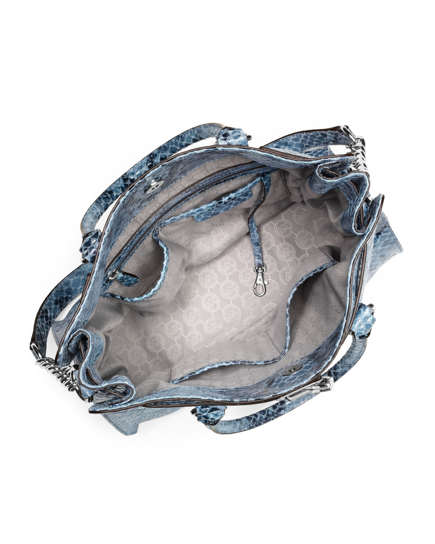 4111f79b545666 Michael Kors Michael Large Hamilton Python-print Tote in Blue - Lyst
