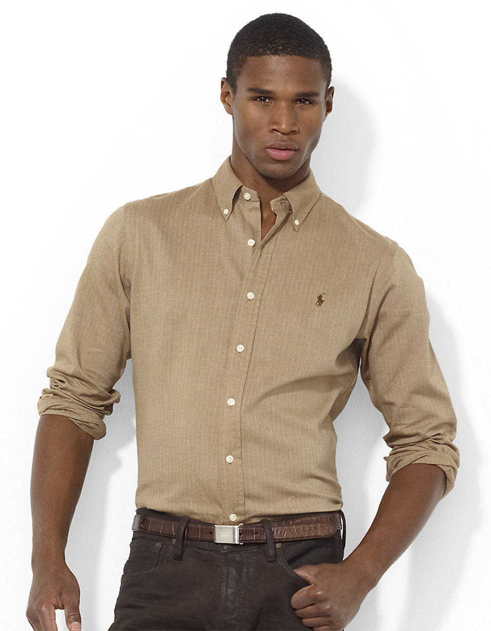 af7980bec ... reduced lyst polo ralph lauren classicfit herringbone shirt in brown  for men 556fa 88753