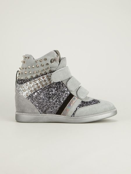 Glitter Wedge Sneakers Studded And Glitter Wedge