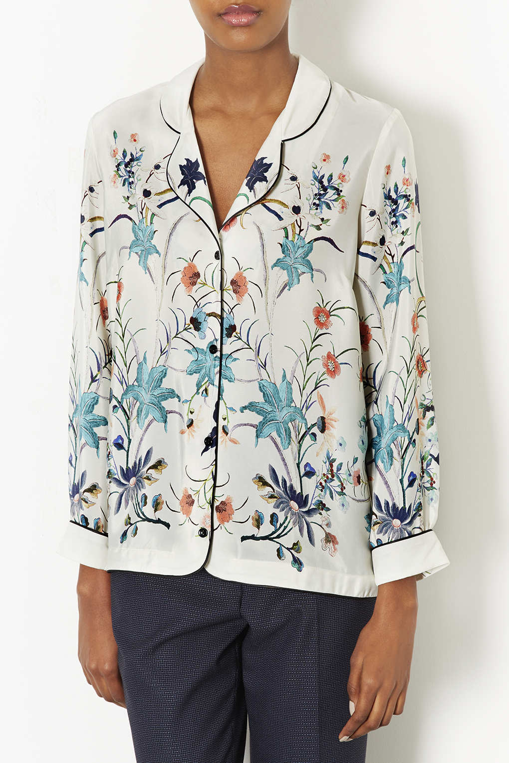 Topshop bird print pyjama shirt in blue lyst for Womens denim shirts topshop