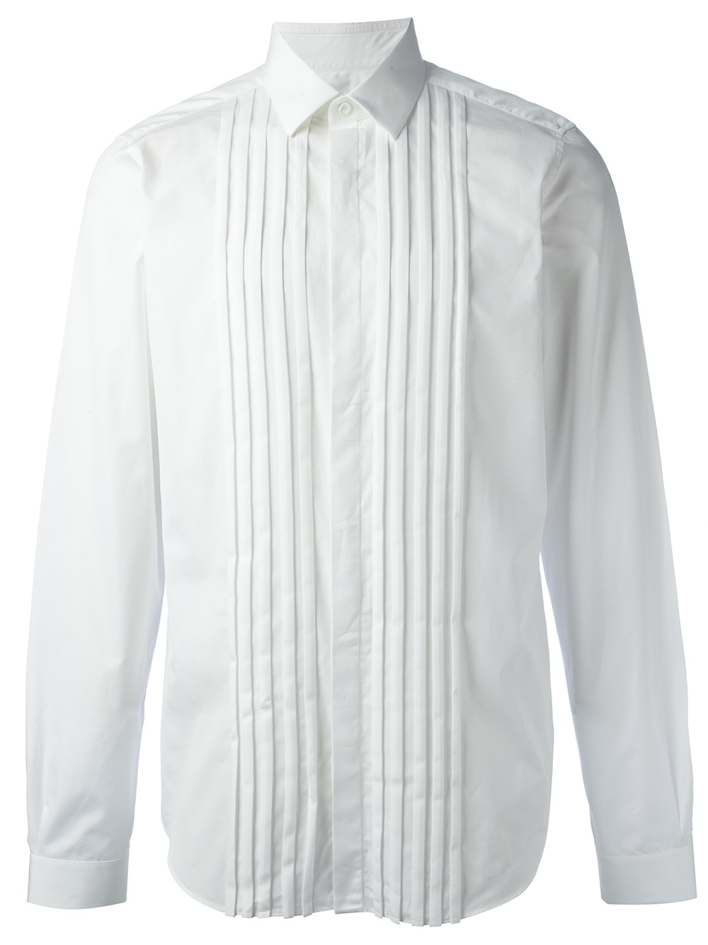 Lyst valentino pleated shirt in white for men for Black pleated dress shirt