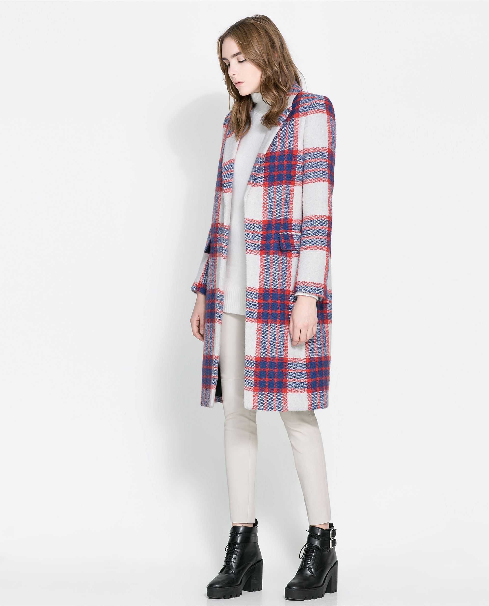 Zara Checked Coat in Red | Lyst