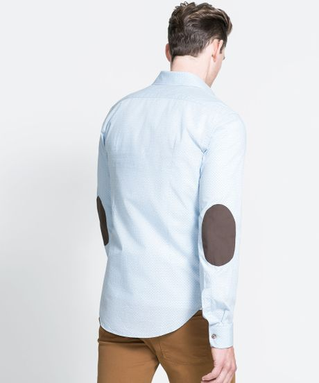 Zara Printed Shirt With Elbow Patches In Blue For Men Sky
