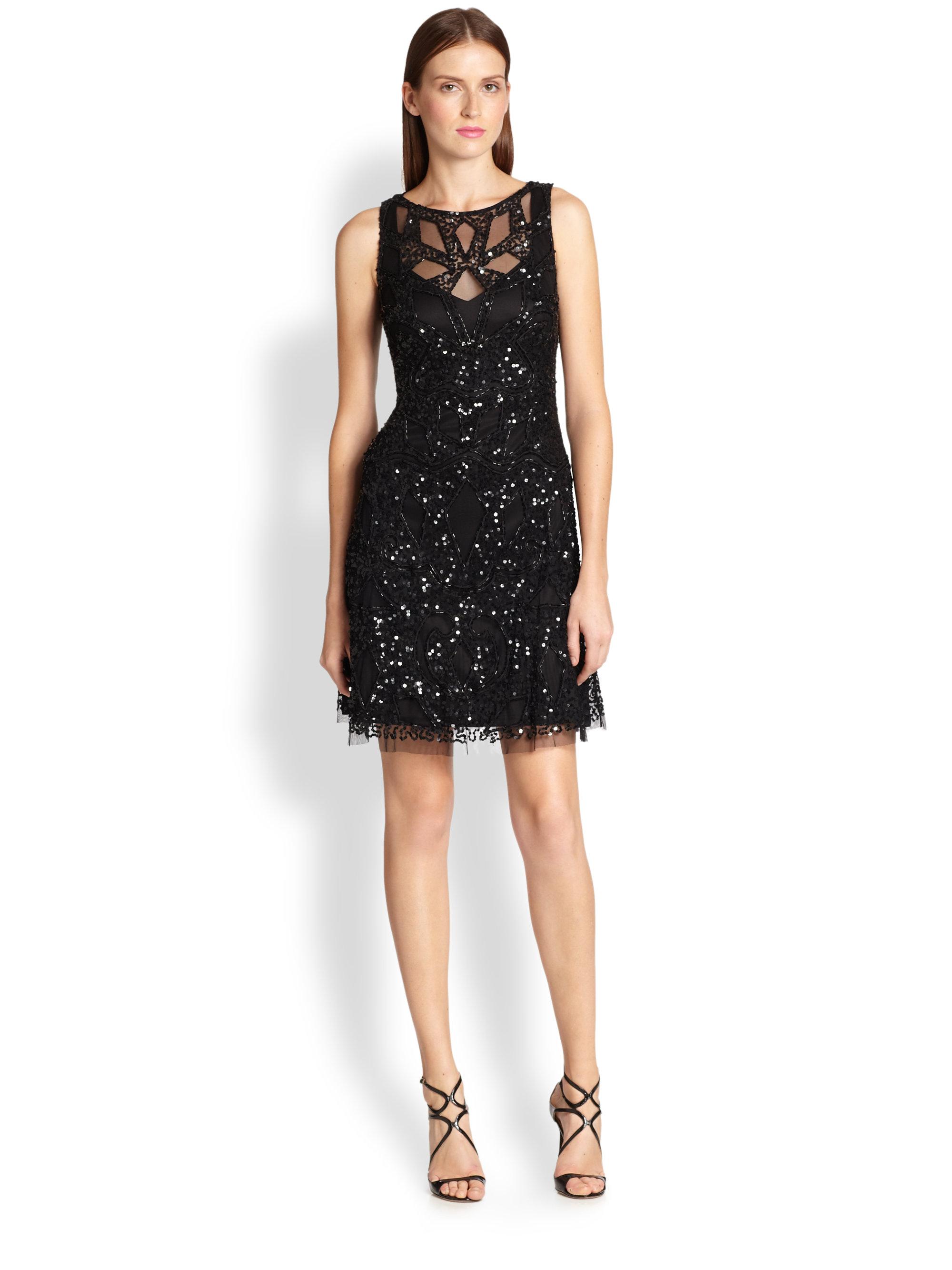 aidan mattox embellished column gown in black lyst