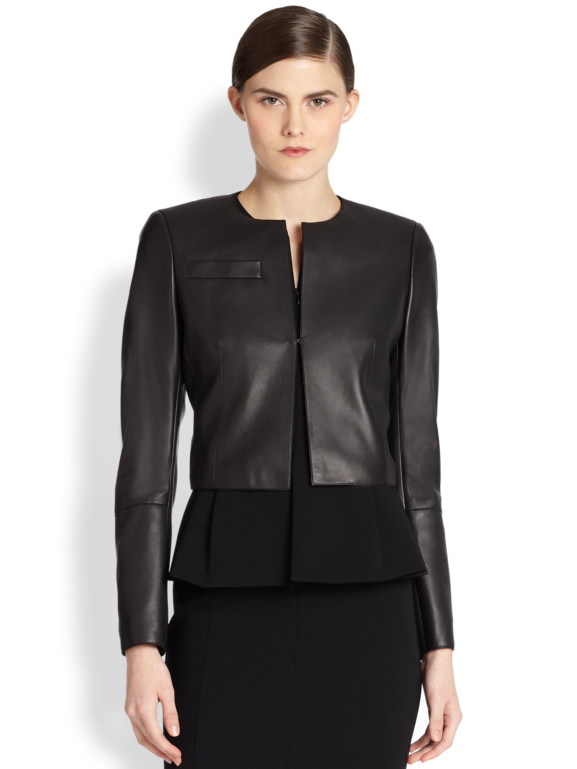 Akris Hasso Cropped Leather Jacket in Black | Lyst